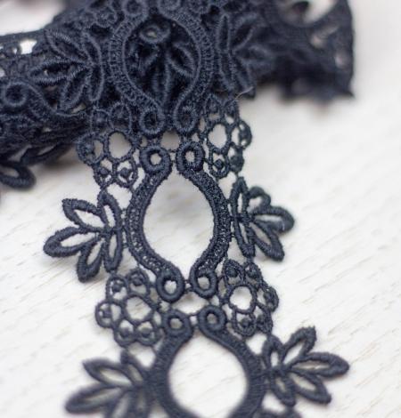 Melna floral pattern macrame lace trimming . Photo 1