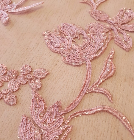 Raspberry pink floral pattern embroidery sequins on soft tulle fabric. Photo 6