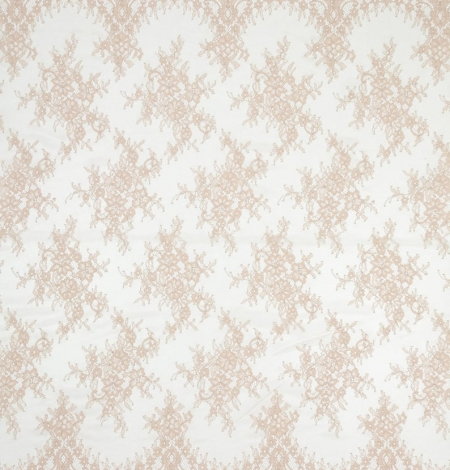 Beige chantilly lace fabric. Photo 8
