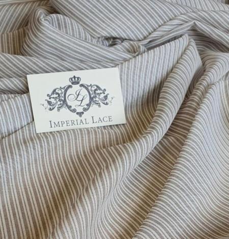 Grey with white stripes viscose fabric. Photo 1