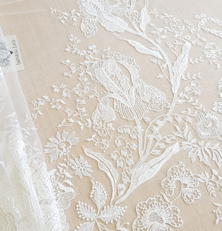 Imperial Lace floral organic embroidery on tulle fabric. Photo 3