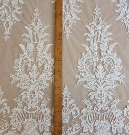 Ivory beaded embroidery on tulle fabric . Photo 6