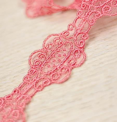 Coral pink macrame lace trim. Photo 3