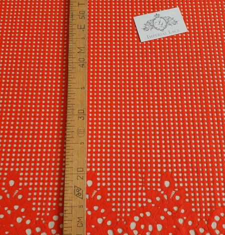 Orange red guipure lace fabric. Photo 6