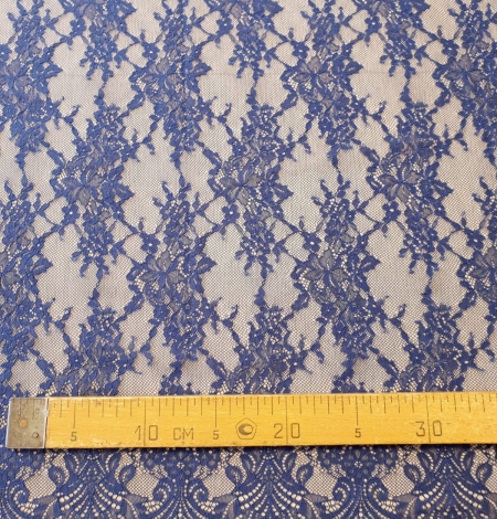 Blue 100% polyester floral chantilly lace fabric. Photo 7