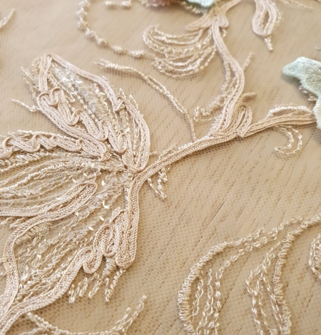 Multicolor floral 3D embroidery on beige tulle fabric. Photo 5
