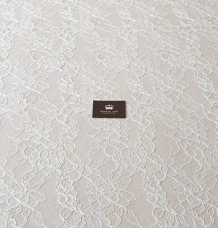 Ivory chantilly lace with thick thread lace fabric . Photo 10