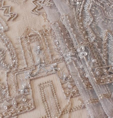 Beigish gray geometric with hanging details beaded lace fabrics. Photo 4