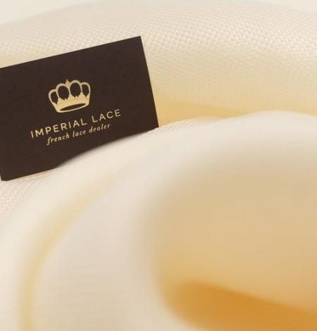 Creme color pure silk gazar fabric. Photo 1