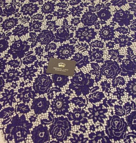 Dark purple floral guipure lace fabric . Photo 5