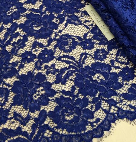 Royal blue floral guipure lace fabric. Photo 1