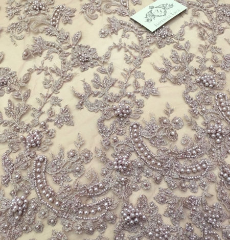Light pink flowers lace fabric 3D. Photo 2