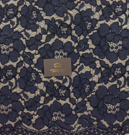 Dark blue floral guipure lace on black organza fabric. Photo 9