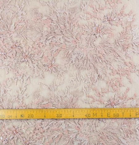 Powder pink beaded embroidery on tulle fabric. Photo 7