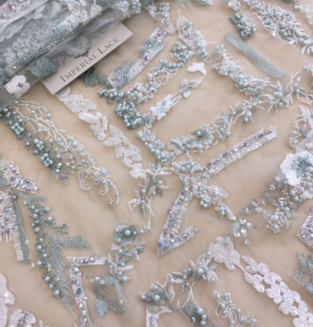 Mint green beaded embroidery . Photo 6