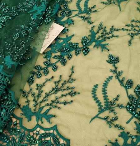 Green beaded lace fabric. Photo 4