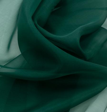 Emerald green silk organza fabric. Photo 9