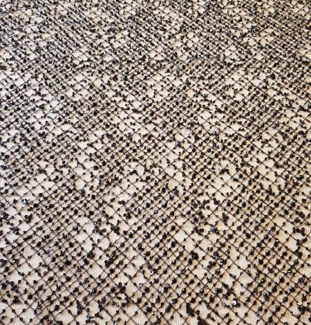 Black beaded lace fabric. Photo 5