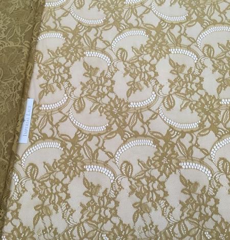 Khaki green lace fabric. Photo 1
