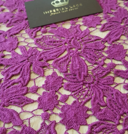 Lilac wool floral pattern macrame lace fabric. Photo 1