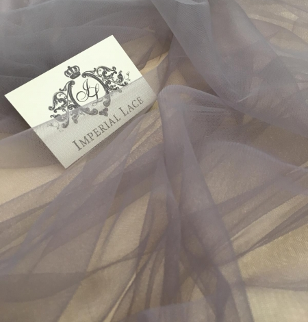 Soft grey tulle fabric with lilac shade. Photo 10