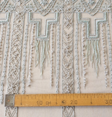 Light green geometric beaded with hanging details lace fabric. Photo 13