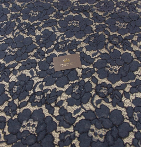 Dark blue floral guipure lace on black organza fabric. Photo 6