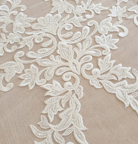 Ivory thick embroidery beaded lace fabric. Photo 5