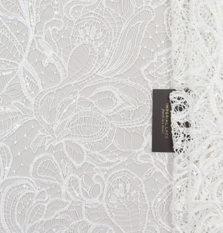Off white acrame beaded floral lace fabric. . Photo 2