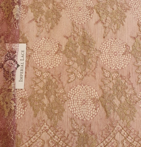 Raspberry red with gold metallic thread natural lace fabric. Photo 1