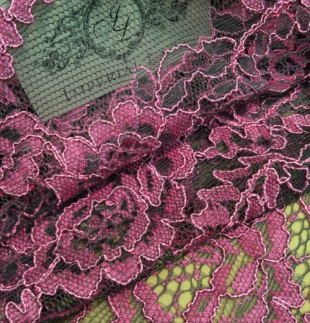 Pink lace fabric. Photo 1