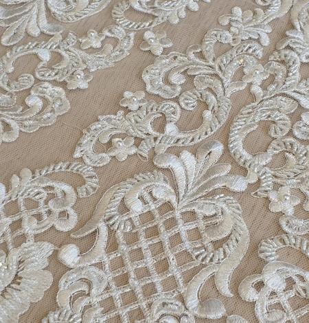 Luxury bridal beaded lace fabric. Photo 5