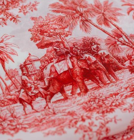Red with orange shade printed silk crepe fabric. Photo 6