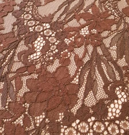 Brown floral pattern guipure lace fabric. Photo 2