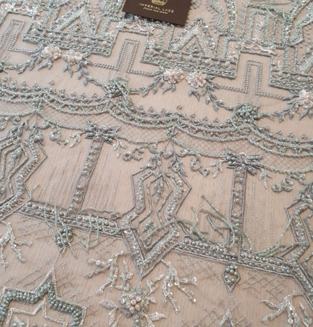 Greyish green beaded with hanging details embroidery on tulle. Photo 3