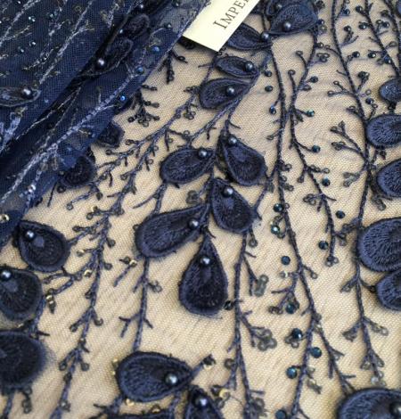 Dark blue beaded lace . Photo 4
