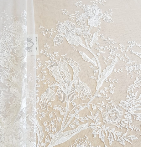 Imperial Lace floral organic embroidery on tulle fabric. Photo 1