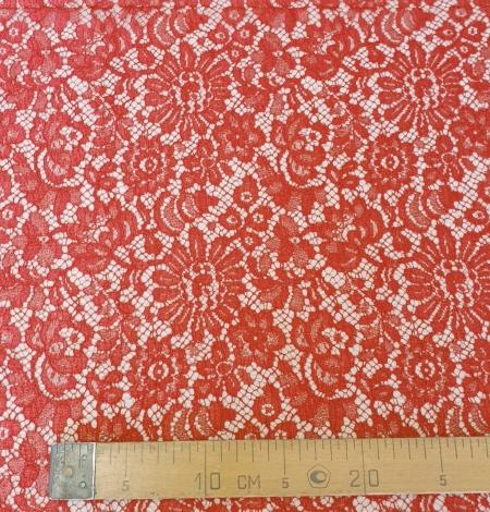 Red viscose chantilly lace fabric. Photo 6