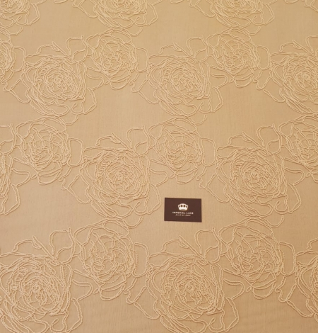 Light peach color big floral pattern thick thread embroidery on tulle fabric. Photo 9
