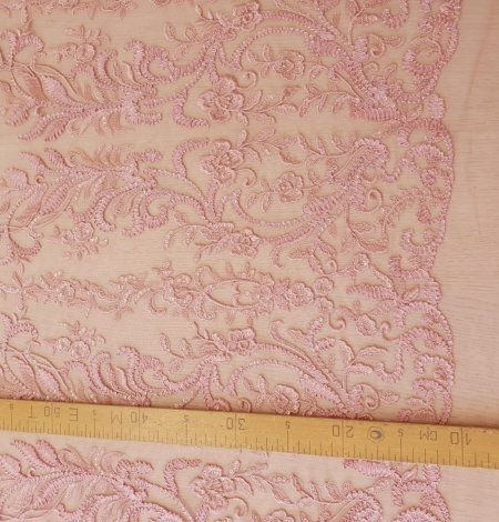 Raspberry pink floral pattern embroidery with sequins on soft tulle fabric. Photo 8