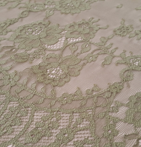 Lace fabric sludge green color. Photo 3