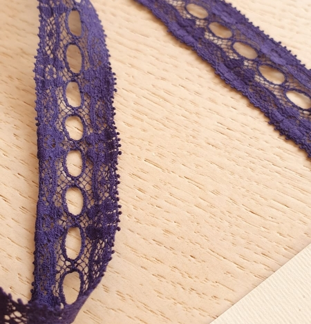 Lilac blue chantilly lace trimming. Photo 4