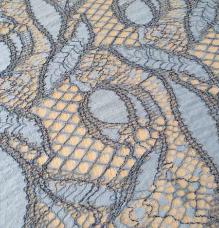Light and dark blue chantilly lace fabric . Photo 4