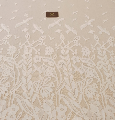 Ivory 100% polyester floral and bird pattern chantilly lace fabric. Photo 5
