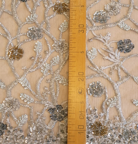 Grey beaded lace fabric. Photo 10