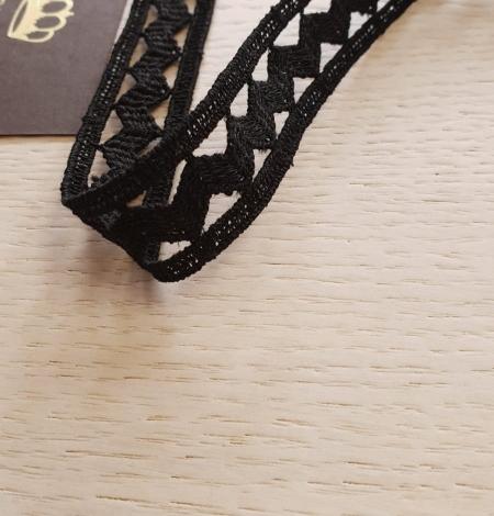 Black cotton macrame lace trimming. Photo 2