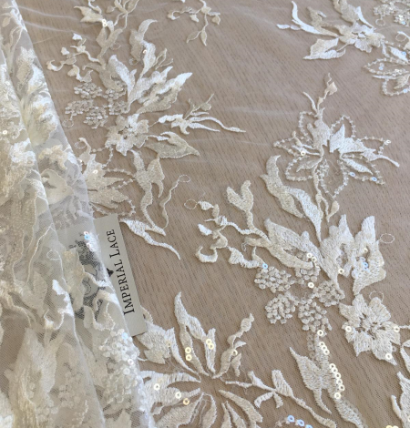 Ivory sequin embroidery lace fabric. Photo 6