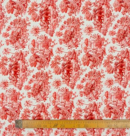 Red with orange shade printed silk crepe fabric. Photo 8