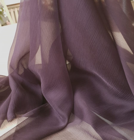 Dark lilac light silk crincle chiffon fabric. Photo 7