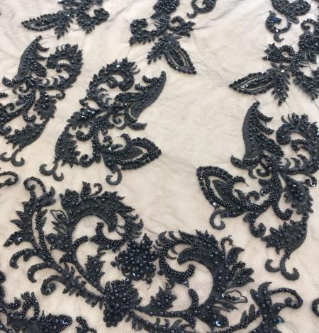 Black beaded lace fabric. Photo 2